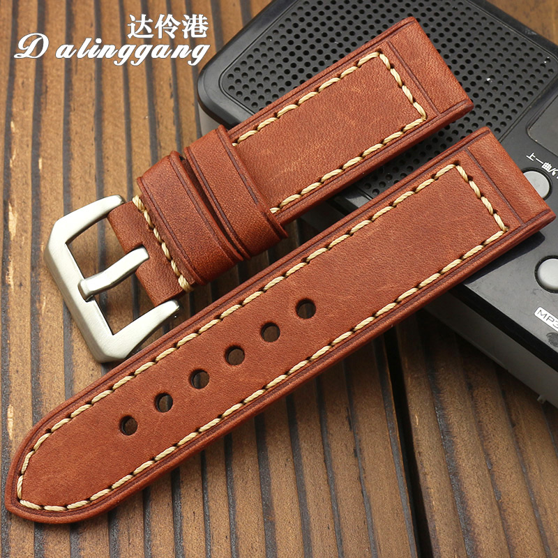 Darling harbour pam male handmade leather watch band 22mm 26 20 thick leather strap leather strap leather strap 24
