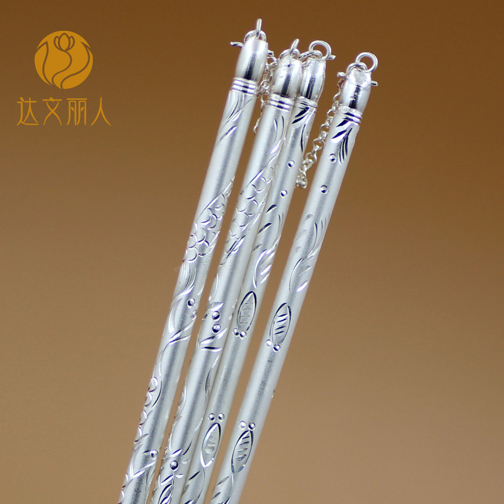 Solid 999 Sterling Silver Chopsticks Chinese Fu Squared Chopsticks Pure Silver
