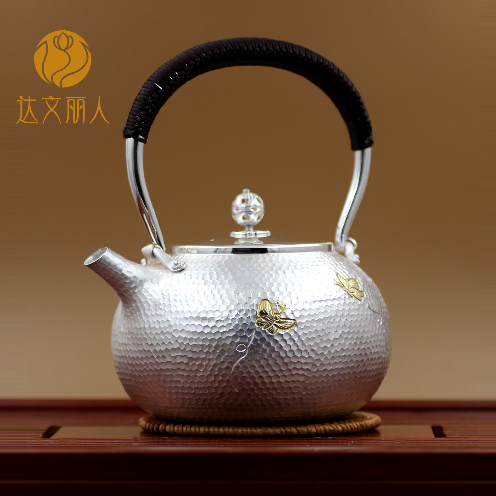 Davenport beauty yin hu handmade sterling silver 999 sterling silver teapot kettle tea kung fu tea with