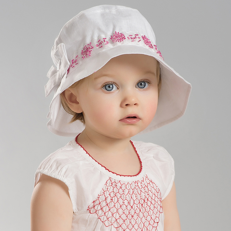David bella summer girls embroidered θ0 wide brimmed hat bucket hats sun hat linen hat
