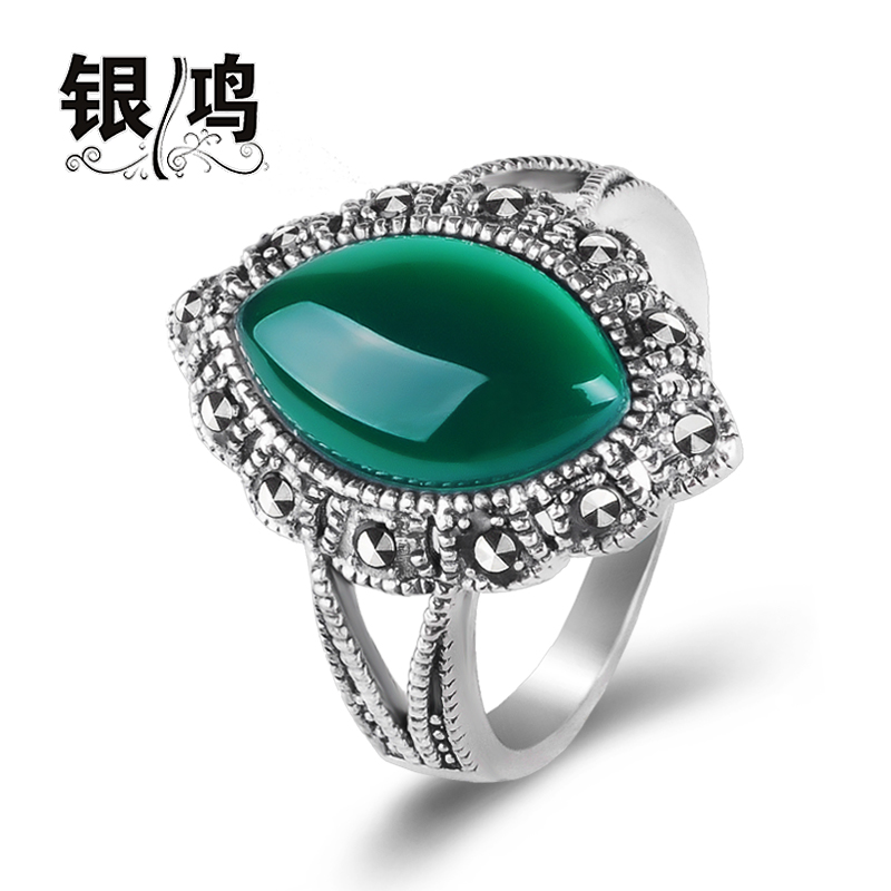 David silver 925 silver jewelry inlaid natural green agate ring thai silver retro female models in europe and america ruby ring finger ring