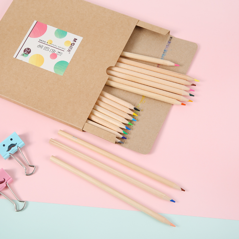 Dawn dawn stationery 24 color/36 color kraft paper logs round colored pencil drawing colored pencil lead children