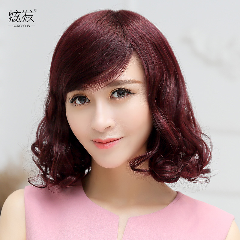 Dazzle hair real hair wig female short hair pear volume hair entire top wig wig fashion female fluffy wig