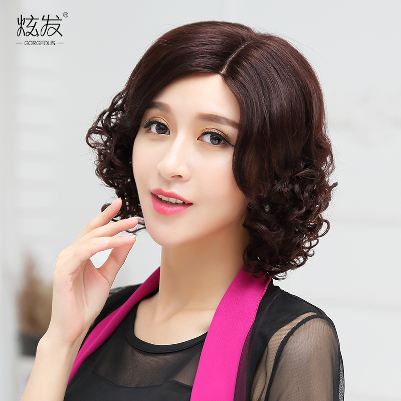 Dazzle hair real hair wig short hair female hand woven middle-aged mother wig wig short hair female short hair wig wig women