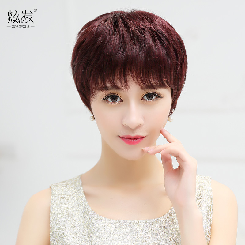 Dazzle hair wig middle-aged mom short hair real hair wig natural lifelike female fluffy hair real hair short hair