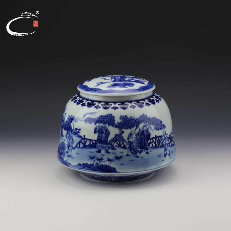 De jing gui xiang painted blue and white caddy jingdezhen masters painted porcelain ceramic canisters canister chaguan ceramic pot