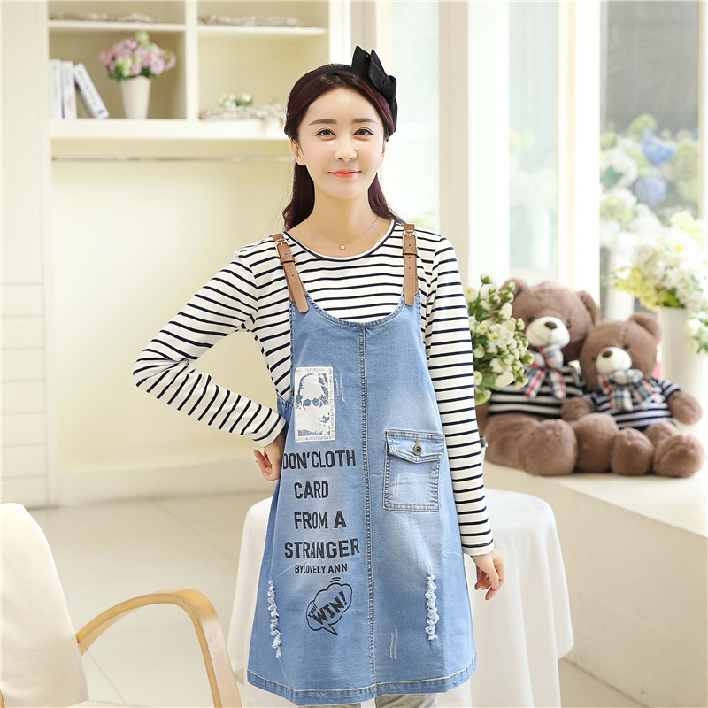 Dean of maternity dresses for pregnant women 2 sets of korean pregnant women maternity denim strap dress casual denim skirt pregnant women dress