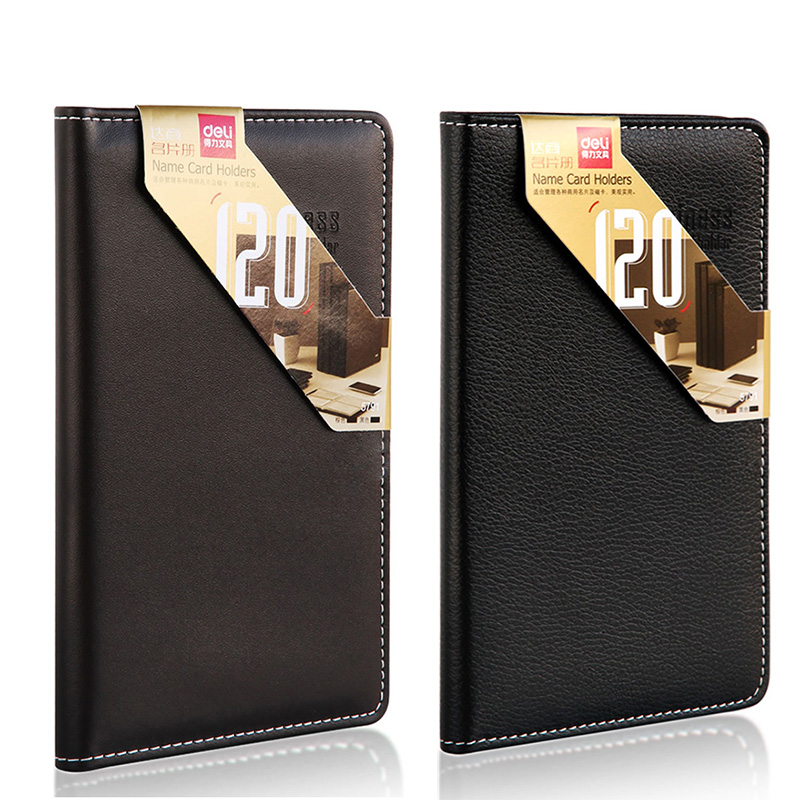 Deli 5791 leather name card holder name card holder 120 zhang pu leather business card book business office large capacity card bag/book