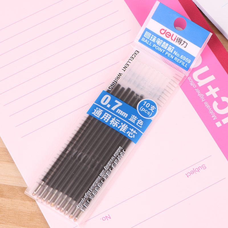 Deli 6959 push type blue ballpoint pen for the core ballpoint pen core 0.7mm 10 loaded with 6546 pen