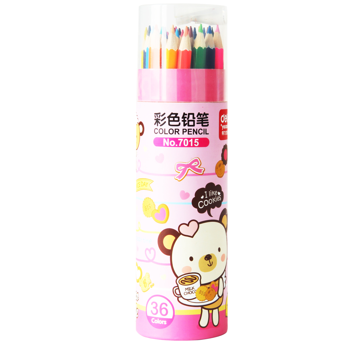 Deli 7015 color cartridges colored pencils colored pencils 36 color color cartoon student with a pencil sharpener