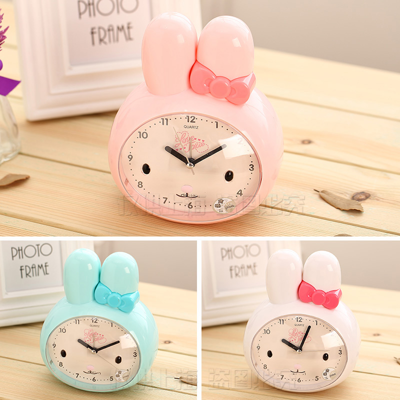 Deli 8803 alarm clock creative cute rabbit meng meng bedroom bedside table alarm clock electronic clock alarm slackers