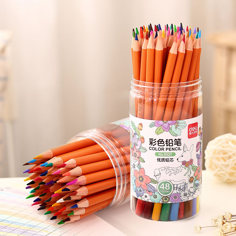 Deli colored pencils 18 color 24 color 36 color 48 color green wood painted colorful painted painting graffiti crayons color of lead