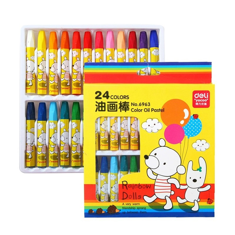 Deli deli deli 24 color oil pastel crayons for children 6963 fine art painting supplies safe and nontoxic