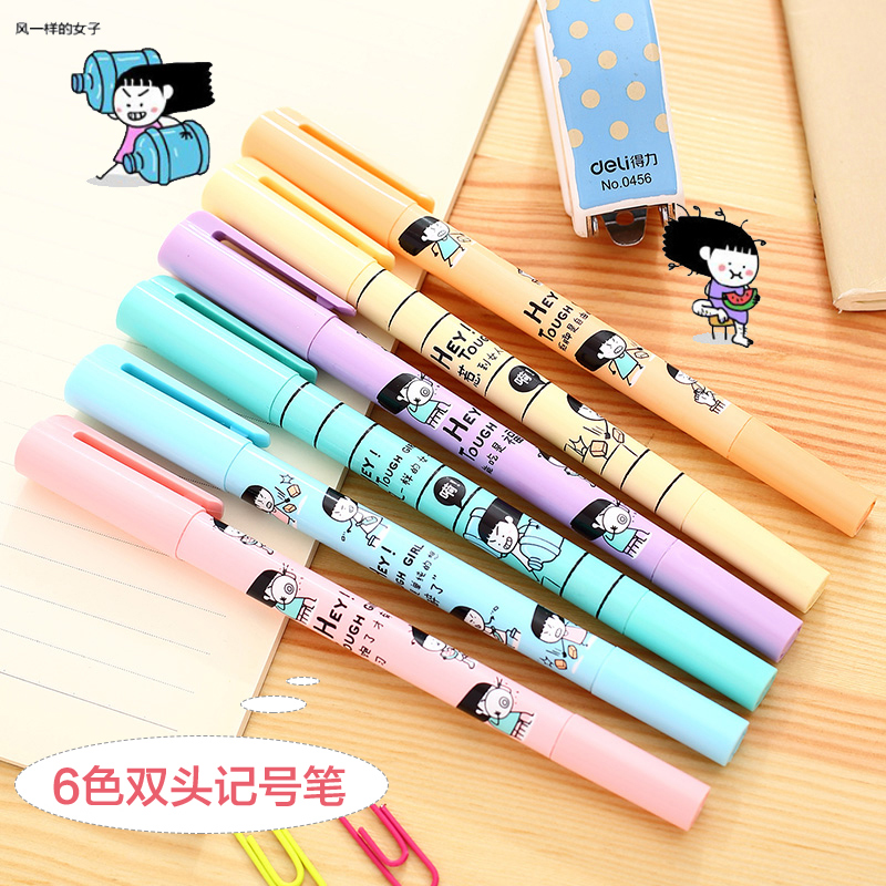 Deli deli s610 headed highlighter marker pen marker focus ring row marker pen 6 color single branch