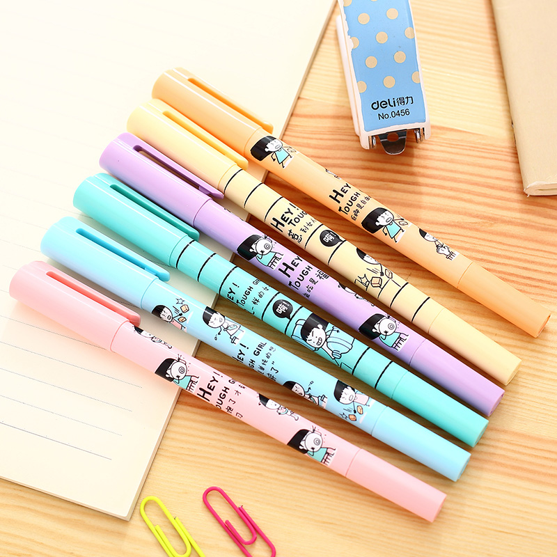 Deli deli s610 headed highlighter pen fluorescent marker pen graffiti color korean stationery highlighter marker crayons
