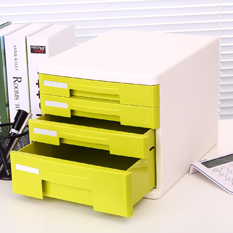 Get Quotations · Deli File Cabinet 4 Layer Plastic Drawer Cabinet Drawer  File Box Office Supplies Office Desktop 9761
