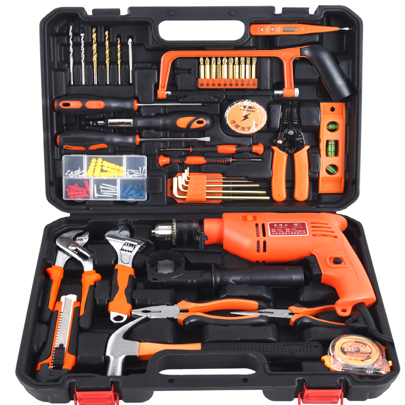 Deli ya multifunction household tool kit hardware tool set german electrical maintenance tool kit with drill