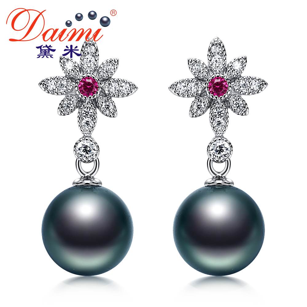 Demi perfect circle jewelry gem 9- 10mm perfect circle strong luster tahitian black pearl earrings pearl earrings 925 silver genuine