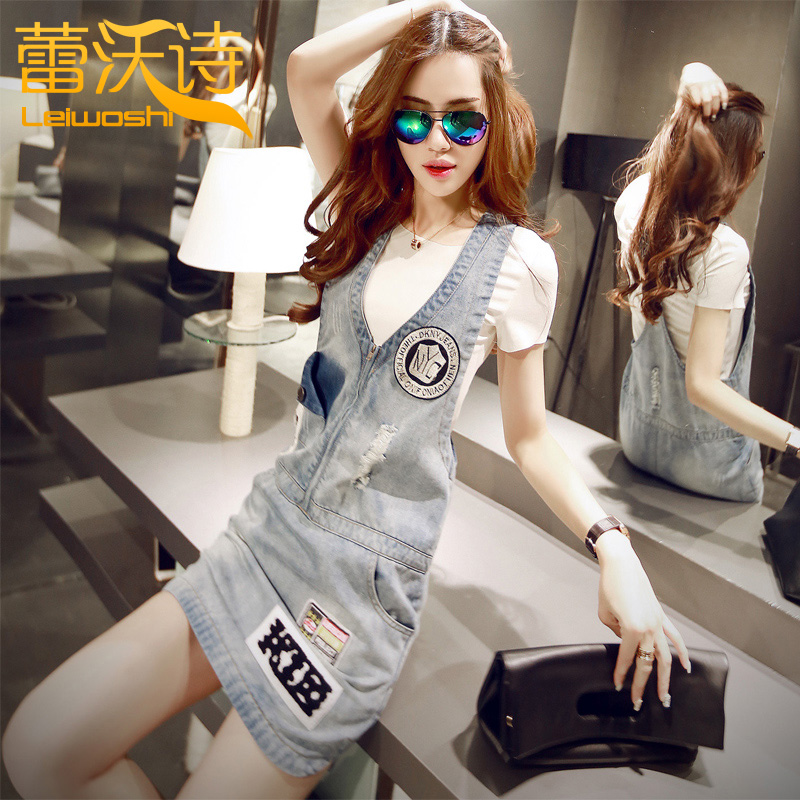 Denim strap dress female spring and summer 2016 korean student was thin vest dress harness dress denim skirt short skirt