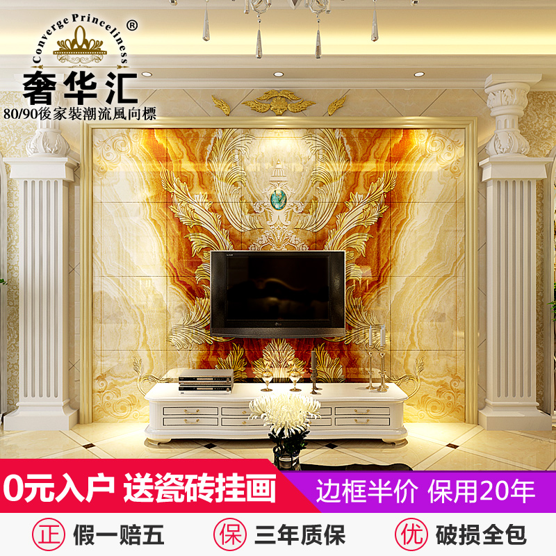 Department of luxury european tile backdrop minimalist living room with marble ceramic tile engraving tv 3d tv wall sofa tv wall