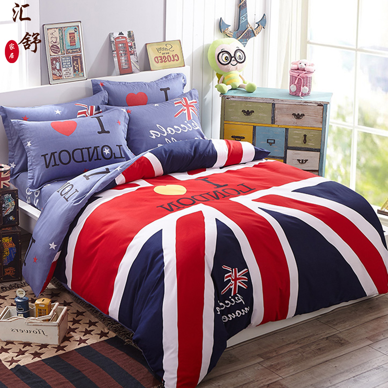 Department of shu cotton cartoon children's bedding a family of three sets of 1.2 m quilt twin single bed student dormitory three sets