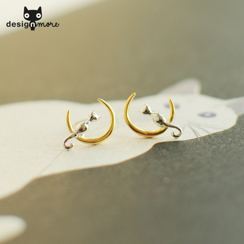 Design cat aftertaste design next month cat earrings earrings silver plated jewelry gift cute cat meow star people
