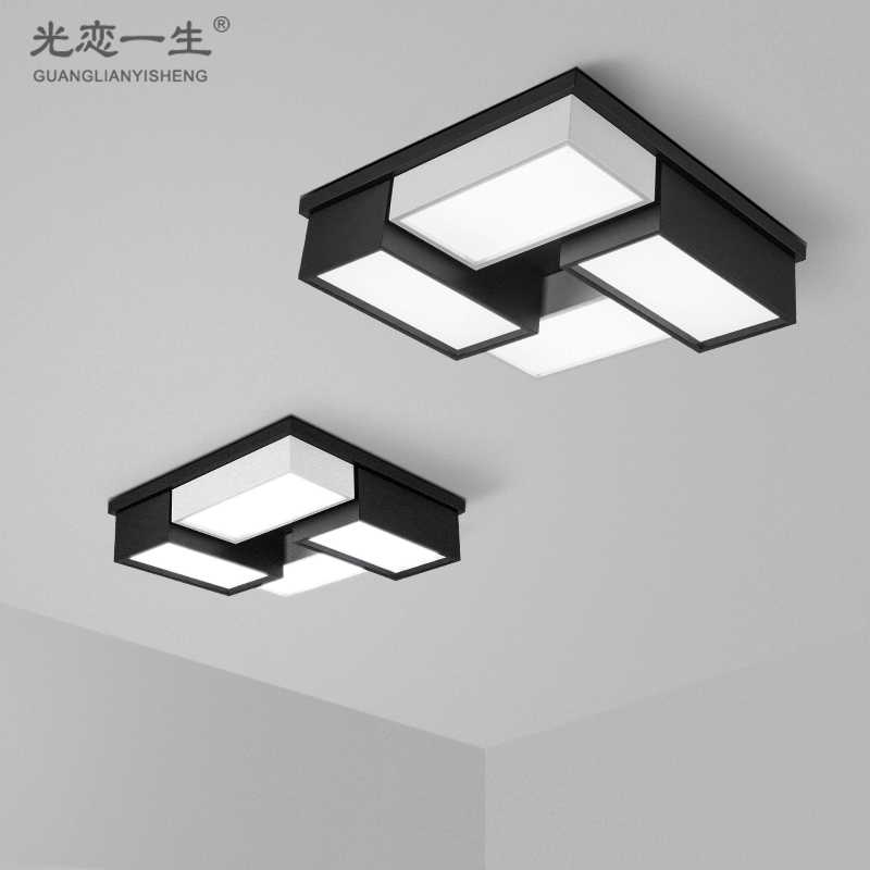 Designer minimalist square combination of black and white living room lamp bedroom den led ceiling room office black and white