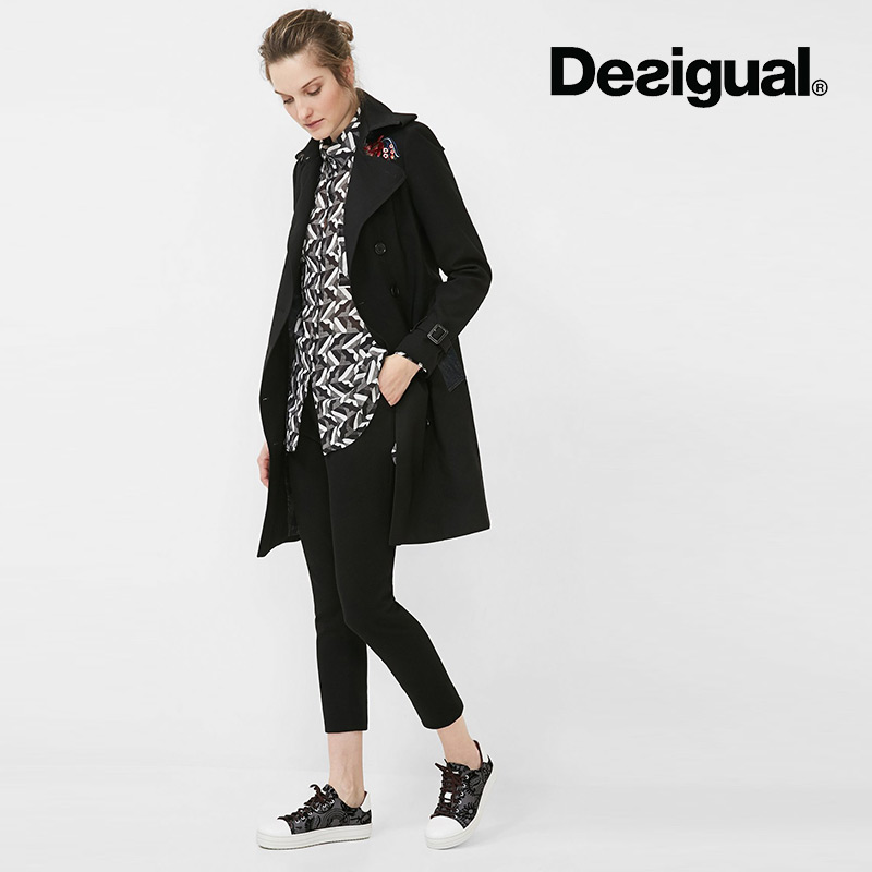 6fcf2bd29b7e Get Quotations · Desigual international brand women's 2016 autumn new  double-breasted coat embroidered hem