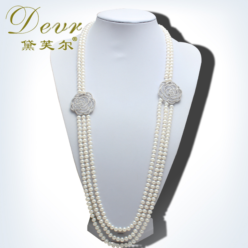 Devr/dai fuer natural freshwater pearl sweater chain long section of fashion flower necklace genuine flawless light
