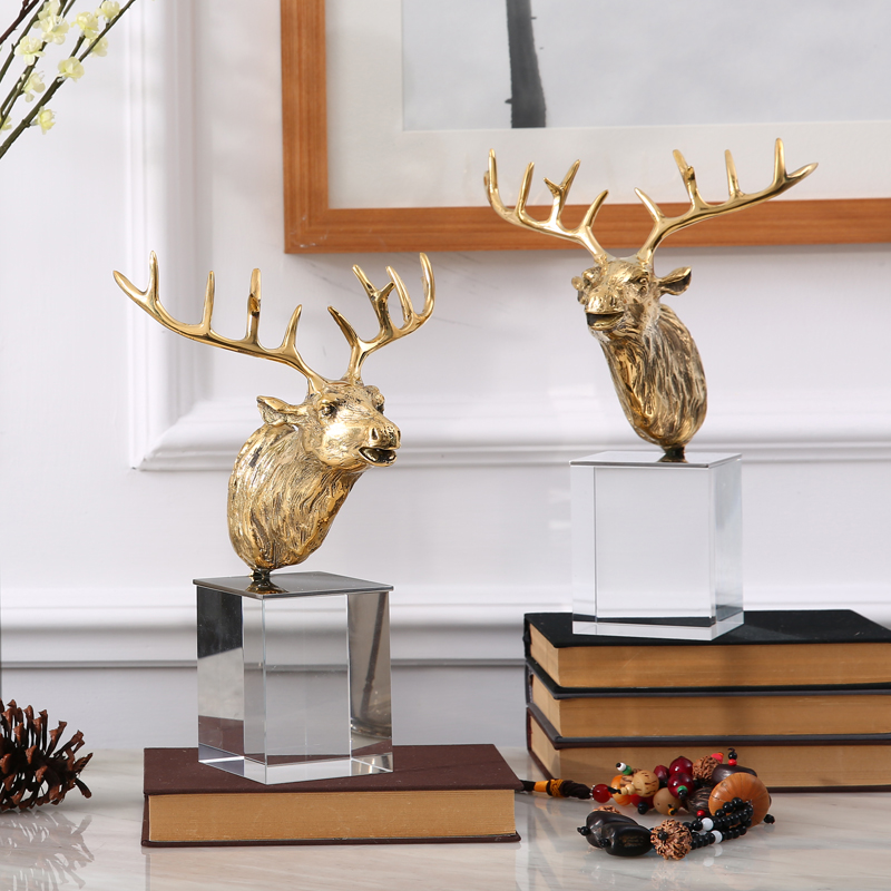 Di high copper crystal ornaments soft furnishings creative animal deer ornaments crafts ornaments lucky