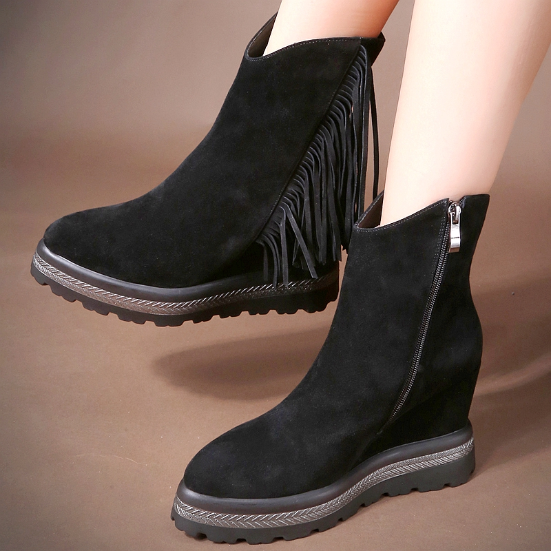 Di luode genuine autumn and winter new short boots single boots fringed boots plus velvet turn cow leather high with increased slope with the tide