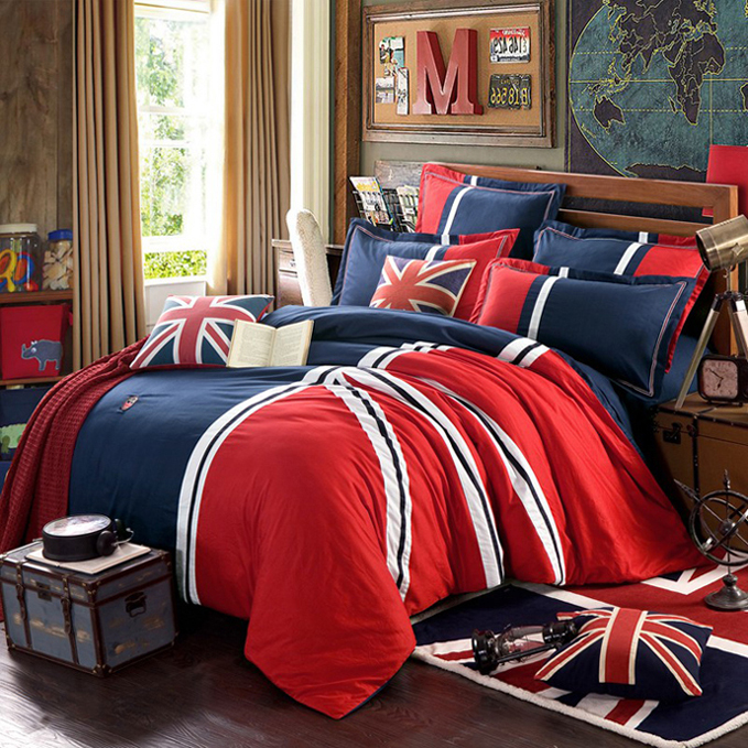 Di mantle textile european and american fashion british style male models model room soft fitted blue full cotton bedding a family of four