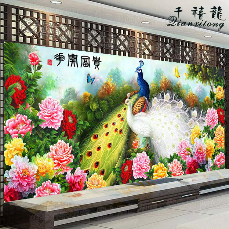 Diamond drill painting painting stitch new living room large version of the flowers open rich peacock embroidered square diamond drilling over drilling diamond paste painting