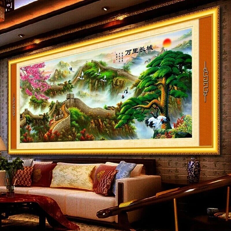 Diamond paste diamond embroidery painting the living room of the great wall landscape painting new diamond stitch painting party full of diamond drilling