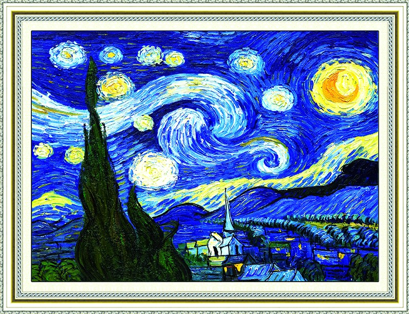 Diamond stick painting van gogh oil painting of european living room full of diamond drilling 5d stitch new living room bedroom painting van gogh's starry sky
