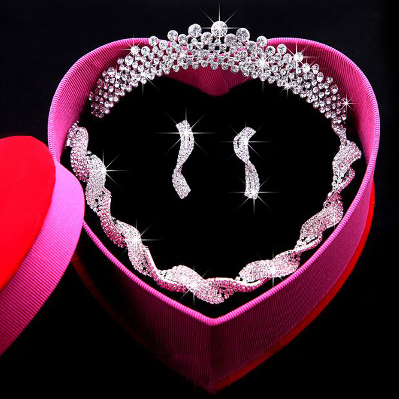 Diamond wedding bride three sets of simple clavicle chain wedding accessories hair accessories crown tiara wedding ceremony jewelry