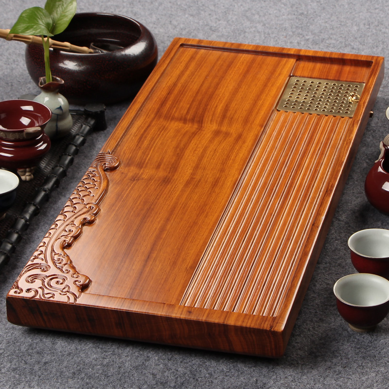 Diao inblock morbility of ugyen wood solid wood tea sea kung fu tea tray drain type mahogany large trumpet tea sets