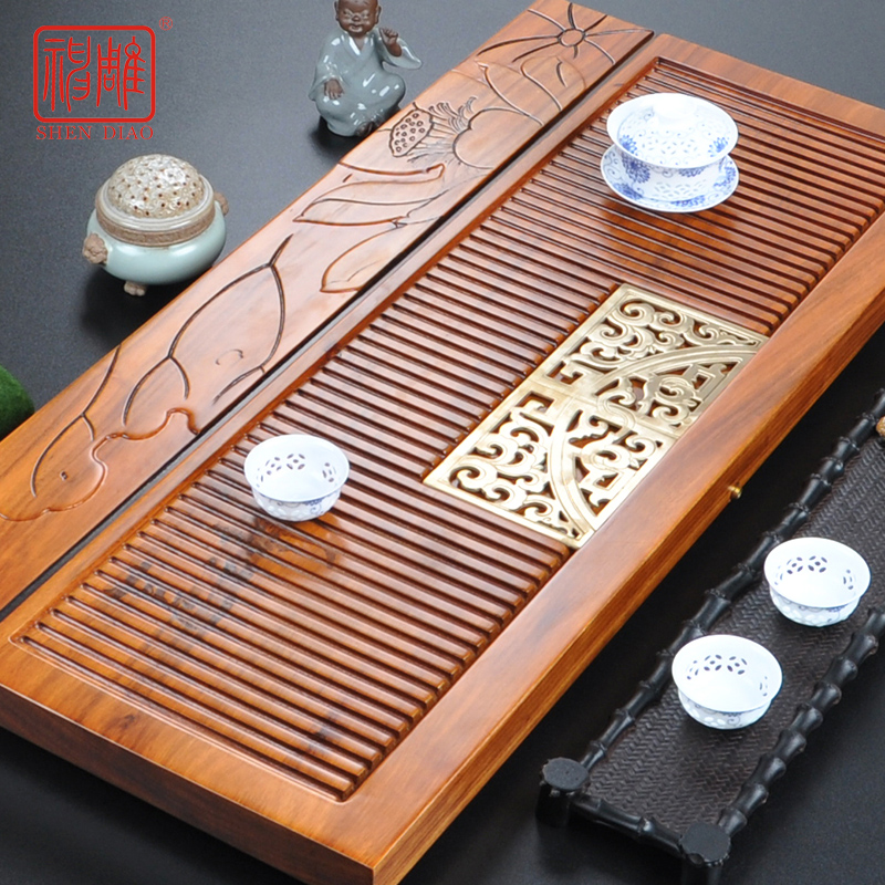Diao inblock ugyen wood slab wood tea tray kung fu tea sea large single row of water tea sets free shipping