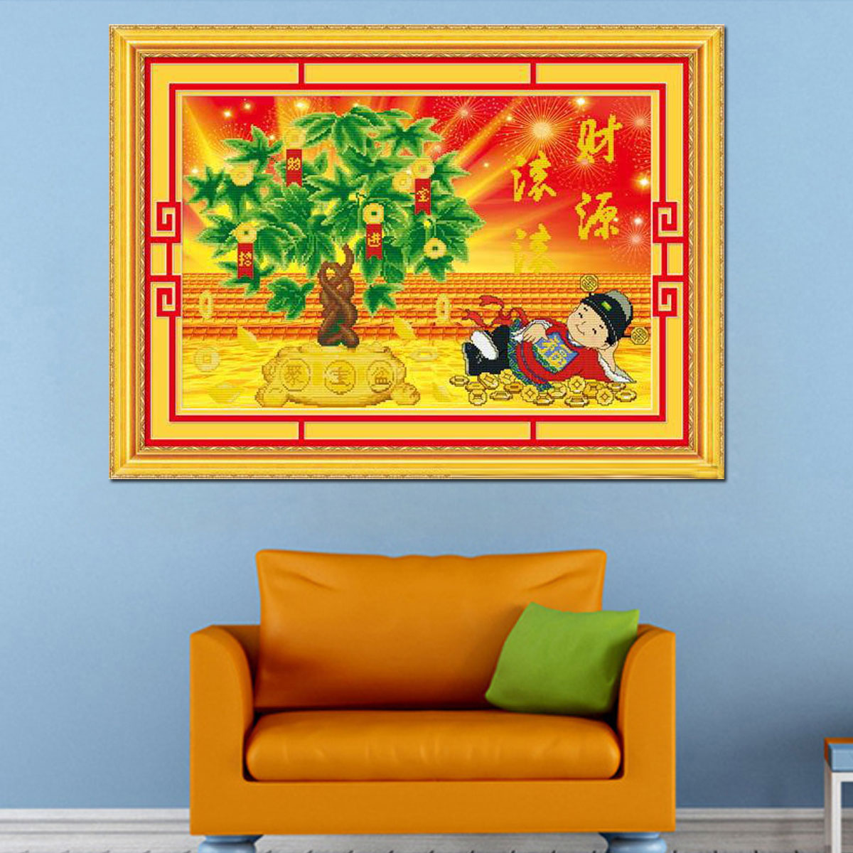 Dimensional painting 3d5d stitch shipping new living room large painting business is booming extra cash zhaocaijinbao