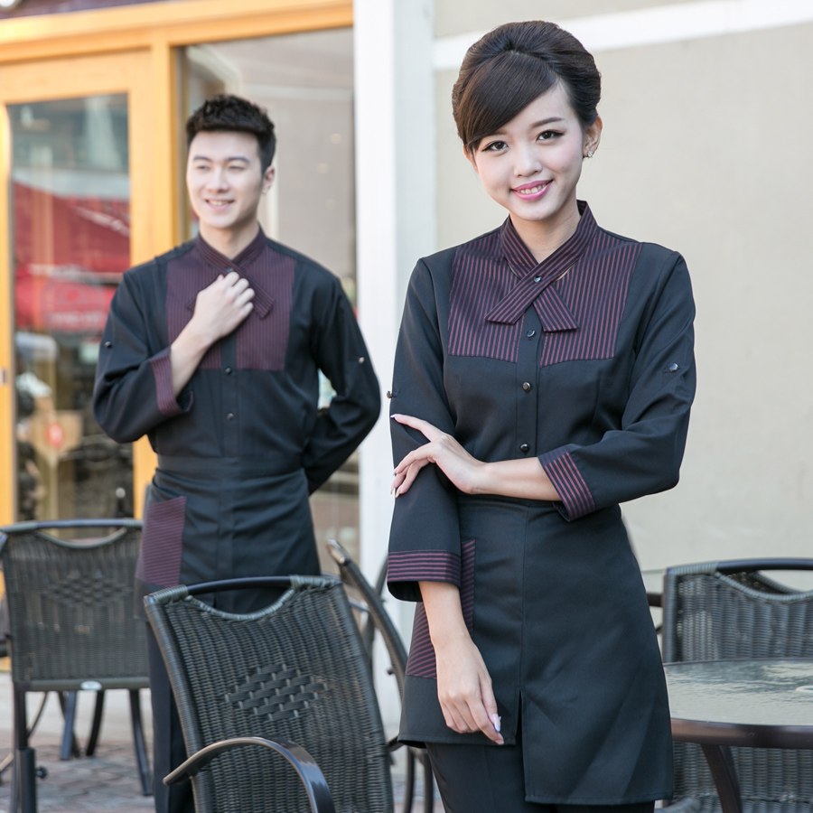 Dingheng new hotel uniforms fall and winter clothes hotel restaurant waiter overalls overalls fall and winter clothes catering