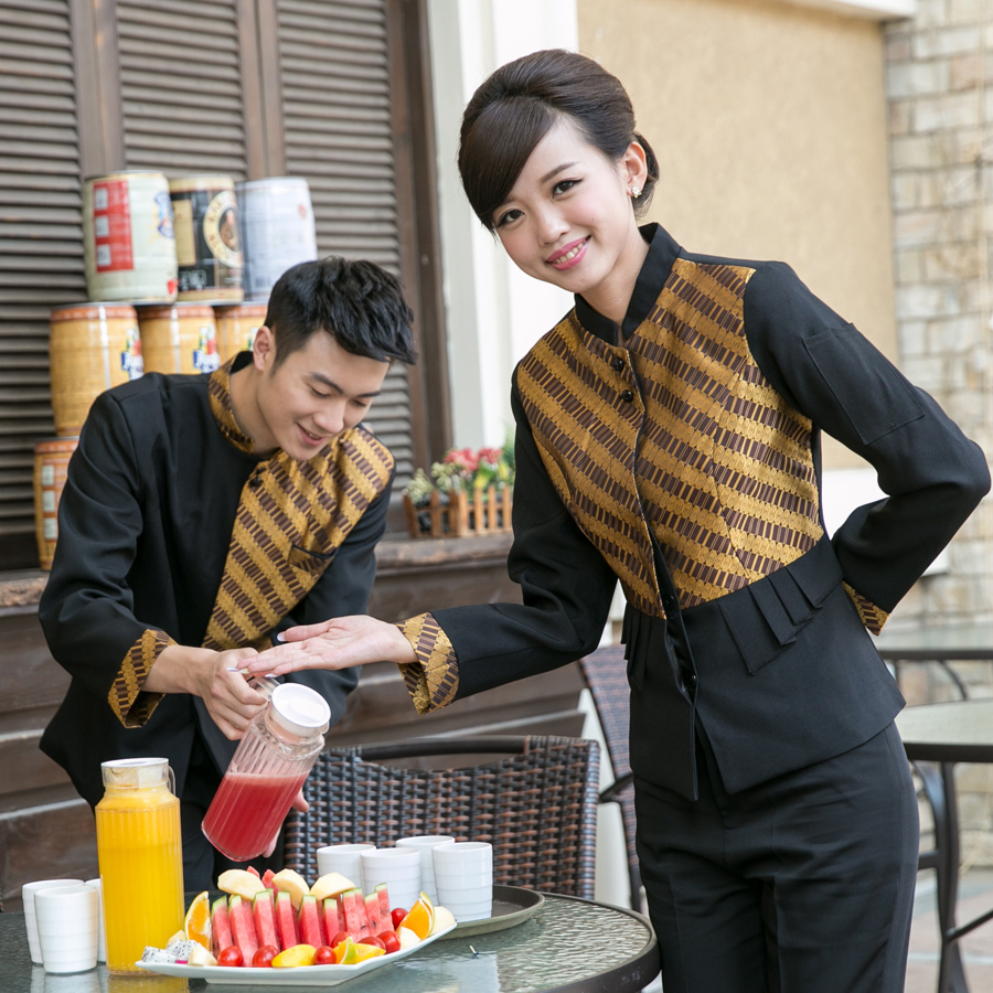 Dingheng waiter uniforms hotel overalls fall and winter clothes fall and winter clothes cafe restaurant work clothes