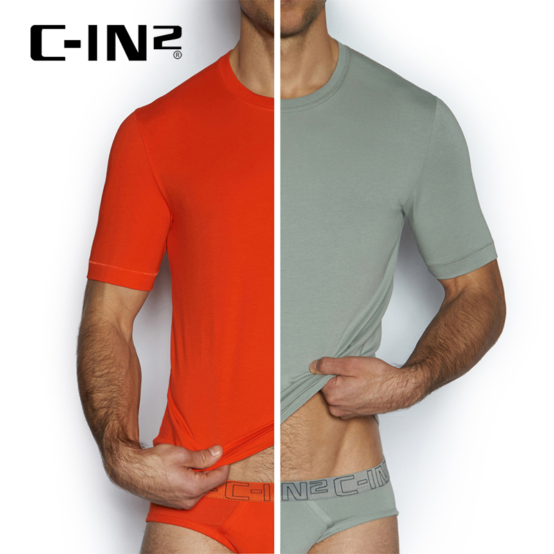 [Discounted] c-in2 imported slim casual men's round neck t-shirt solid color short sleeve two loaded