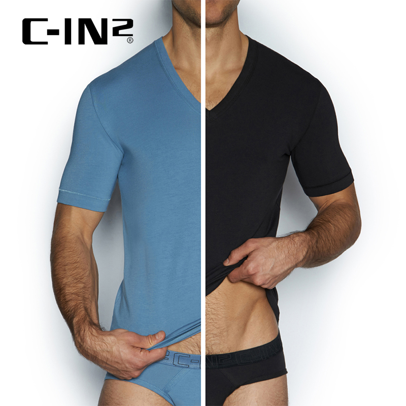 [Discounted] c-in2 men short sleeve t-shirt bottoming shirt cotton v-neck short sleeve men t-shirt dress two 1210j