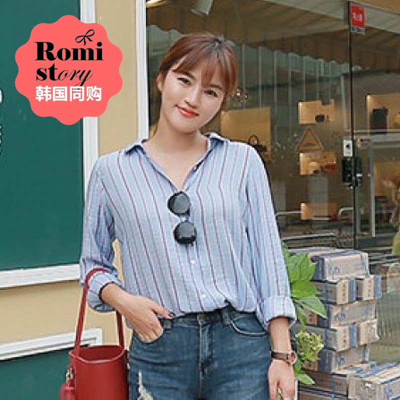 [Discounted shipping] s ~ xxl korean romistory summer loose women was thin lapel loose striped blouses