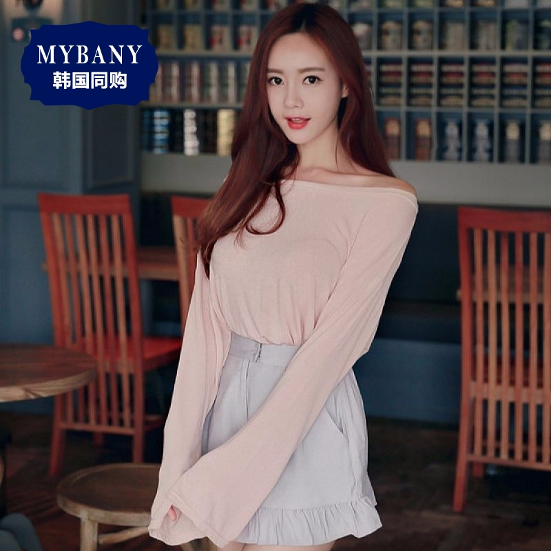 [Discounted shipping] south korea MYBANY2016 ladieswear summer korean version was thin and sexy slits cuffs boat neck t-shirt