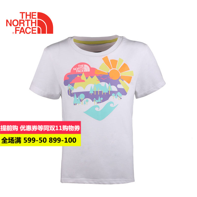 [Discounted] thenorthface north girls big boy short sleeve t-shirt children t-shirts family fitted CSD7