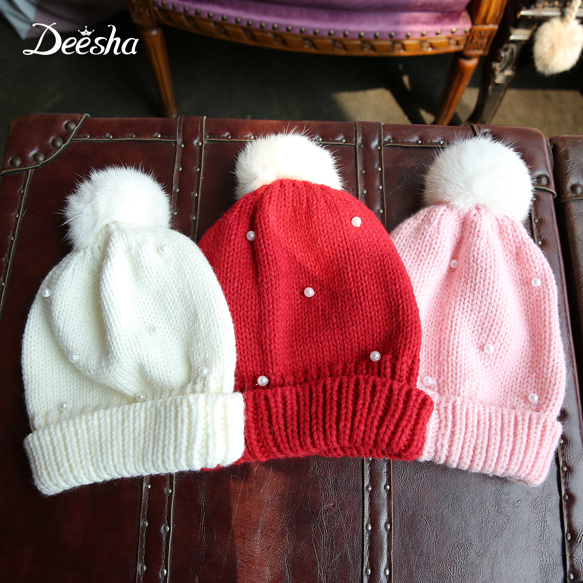 Disha kids 2016 new autumn and winter beanie children beaded hair ball wool hat female baby boy big boy hat