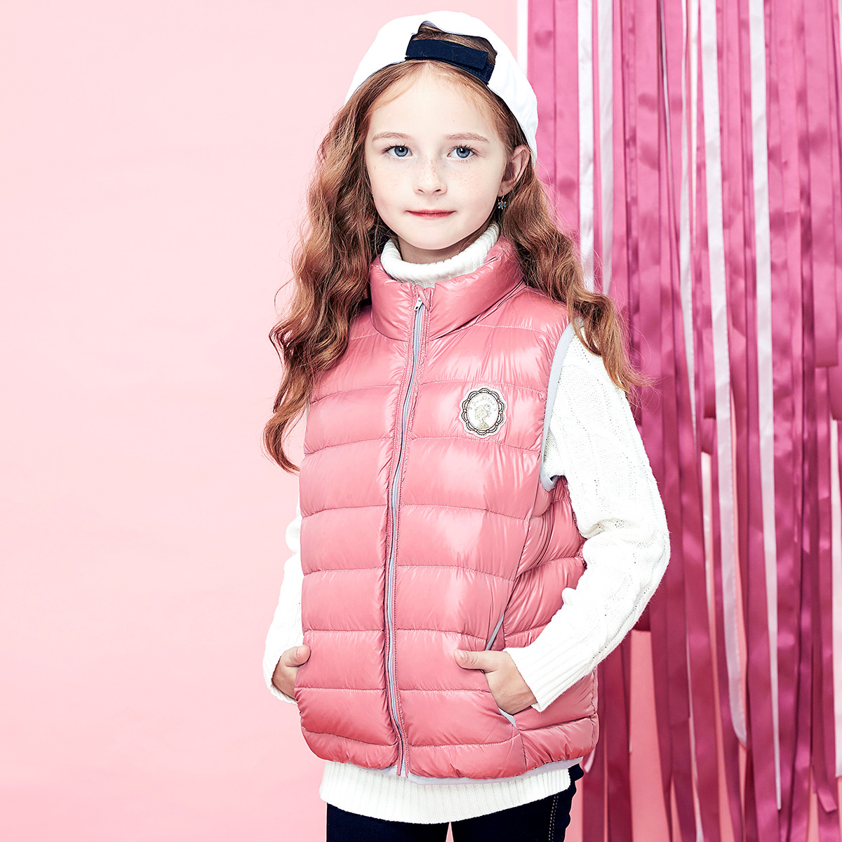 Disha kids girls 2016 winter new baby down vest a fall and winter clothes big virgin child horse