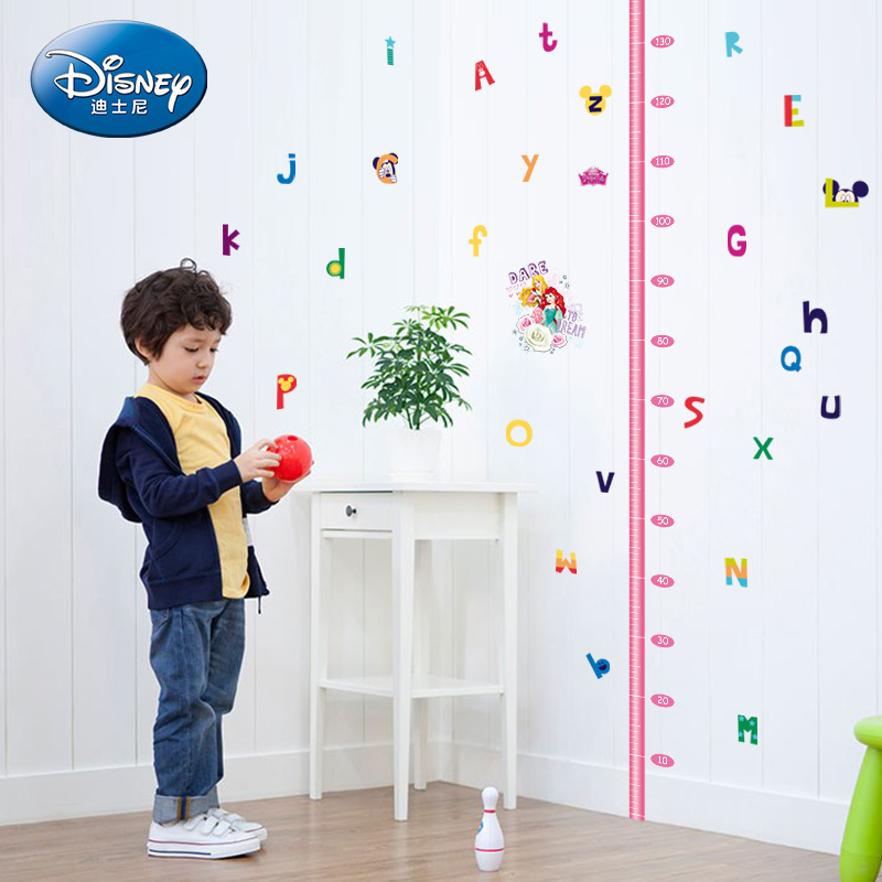 Disney cartoon children's room measuring height wall stickers bedroom living room decorative alphabet stickers kindergarten removable wallpaper