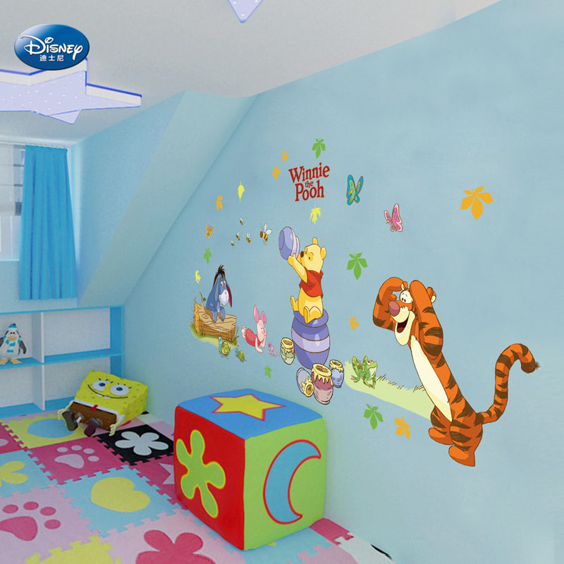 Disney children's bedroom decor removable wall stickers cute wall stickers children's room nursery wall stickers affixed stickers winnie the pooh